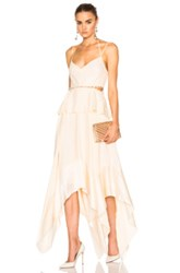 Prabal Gurung Silk Charmeuse Handkerchief Hem Dress In White