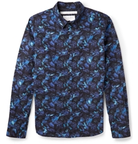 White Mountaineering Printed Cotton Shirt Blue