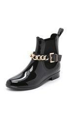 Dav Glasgow Chain Chelsea Booties Black Gold