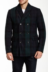 Ben Sherman Wool Blend Plaid Shawl Collar Coat Green