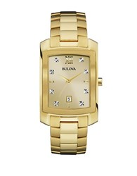 Bulova Diamond Accented Goldtone Stainless Steel Bracelet Watch 97D107