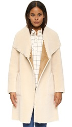 Velvet Drape Faux Shearling Jacket Cream
