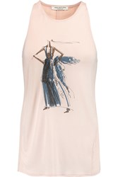 Halston Printed Modal Jersey And Georgette Tank Pink