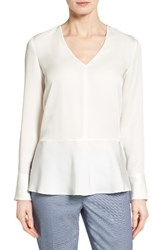 Nordstrom Women's Collection Silk Peplum Blouse Ivory Cloud