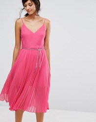 Oasis Lace Hem Pleat Midi Cami Dress Pink