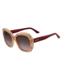 Etro Paisley Oversized Square Sunglasses Pink Pattern