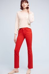 Anthropologie Mother Insider Crop High Rise Petite Jeans Red