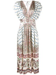 Etro V Neck Paisley Print Dress Nude And Neutrals