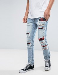 Cayler And Sons Skinny Jeans In Blue With Extreme Distressing