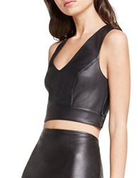 Bcbgeneration Banded Faux Leather Crop Top Black