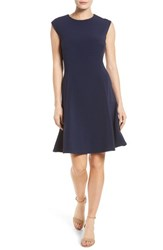 Halogenr Women's Halogen Ottoman Knit Fit And Flare Dress Navy Peacoat