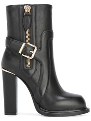 Gianni Renzi Gold Tone Zipped Ankle Boots Black
