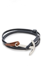 Miansai Modern Anchor Two Tone Leather Wrap Bracelet Navy Brown