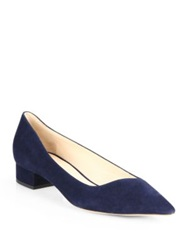 Giorgio Armani Asymmetrical Suede Point Toe Pumps Blue