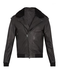 Acne Studios Avone Shearling Trimmed Leather Biker Jacket Black