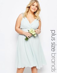 Tfnc Plus Wedding Prom Midi Dress With Embellished Shoulders Green