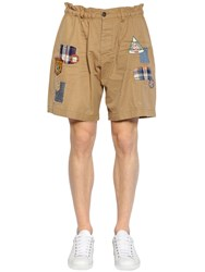 Dsquared Cotton Twill Chino Shorts W Patches Khaki