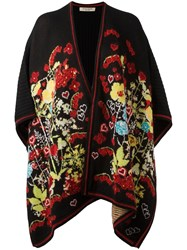 Piccione.Piccione Piccione. Piccione Floral Intarsia Knitted Poncho Black
