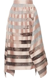 Fendi Asymmetric Striped Satin And Printed Organza Midi Skirt Pastel Pink
