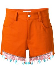 Au Jour Le Jour Beaded Trim Shorts Cotton Spandex Elastane Viscose Pvc Yellow Orange