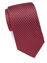 Yves Saint Laurent Mini Check Silk Tie Navy Red