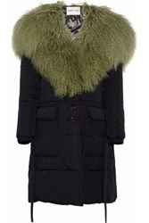 Sandy Liang Sage Shearling Paneled Quilted Shell Coat Black