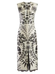 Alexander Mcqueen Shell Print Wool Blend Crepe Dress White Black