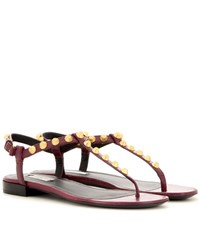 Balenciaga Giant Stud Leather Sandals Red