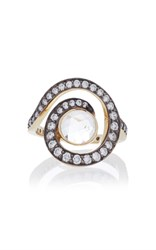 Noor Fares Planet Spiral Pinky Ring In Yellow Gold With Faceted White Topaz And Diamonds