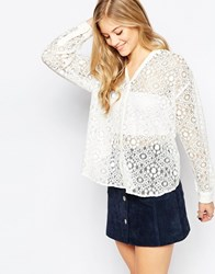 Boulee Ronnie Long Sleeve Lace Top With Front And Back V Ivorylace