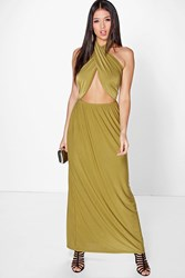 Boohoo Twist Front Halterneck Maxi Dress Olive