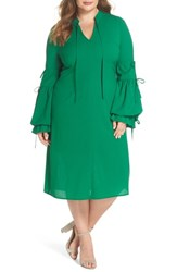 Elvi Plus Size Women's Leiko Antoinette Puff Sleeve Tea Dress Green
