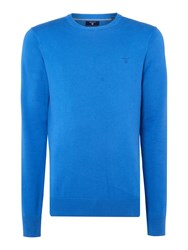 Gant Men's Lightweight Cotton Crew Neck Jumper Royal Blue