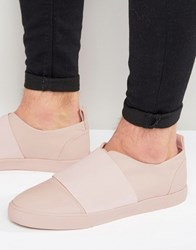 Asos Slip On Trainers In Pink With Elastic Strap Pink