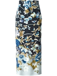 Kenzo Vintage Long Flower Print Skirt Multicolour