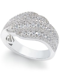 Arabella Swarovski Zirconia Diagonal Cluster Statement Ring In Sterling Silver White