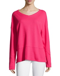 Neon Buddha Long Sleeve V Neck Top Deluxe Pink