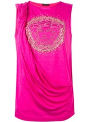 Versace Embellished Medusa Draped Top Pink And Purple