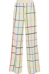 Mary Katrantzou Donis Checked Stretch Crepe Wide Leg Pants Off White