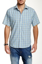 Toscano Short Sleeve Checkered Shirt Green