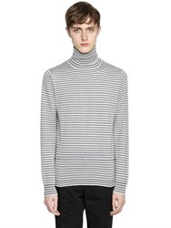 Lanvin Striped Wool Knit Turtleneck Sweater