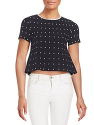 Tanya Taylor Frances Cropped Polka Dot Textured Jersey Tee Black White