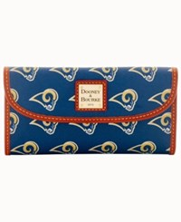 Dooney And Bourke Los Angeles Rams Large Continental Clutch Navy Brown