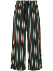 Astraet Striped Cropped Trousers Green