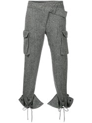 Monse Laced Cuffs Belt Detailed Trousers Wool Grey
