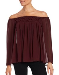 Bailey 44 Helena Off The Shoulder Pleated Chiffon Blouse Berry