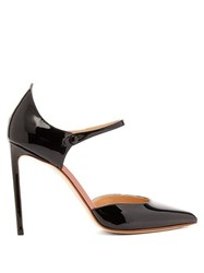 Francesco Russo Point Toe Patent Leather Mary Jane Pumps Black