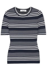Frame Striped Ribbed Knit Top Navy