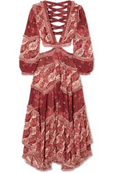 Zimmermann Eyes On Summer Cutout Printed Cotton And Silk Blend Chiffon Maxi Dress Magenta