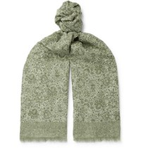 Isaia Fringed Paisley Print Cotton And Linen Blend Scarf Green